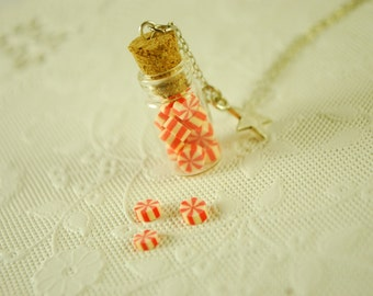 peppermint candy  jar necklace - food jewelry