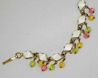 Vintage Bead and Diamond Cabachon Gold-tone link bracelet
