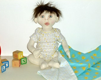 Toy fabric baby doll, yellow duck blanket, OOAK doll, cloth doll, One of a kind doll, Sheila Kay doll, brown hair blue eyes, soft sculpture