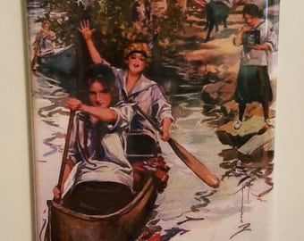 """Girl Scouts Caneoing and Camping 2"""" x 3"""" Fridge Magnet Art Vintage"""