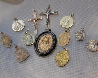 LOT 12PCS  French Antique 18th 19th century Religious medal reliquary sacred heart bronze rosary heart medal crucifix virgin mary gothic