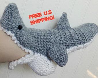 WOMENS Crochet Shark Slipper Socks FREE SHIPPING