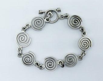 Vintage Silver Swirl Link Bracelet