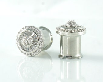 Wedding Gauges 6g 2g 4g 0g 00g 7/16 Diamond Plugs 3mm 4mm 6mm 8mm 10mm