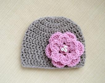 Baby girl beanie Newborn girl hat Newborn crochet hat Baby girl Newborn photo prop Crochet baby hats for girls New born girl hats Infant hat