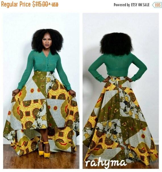 SUMMER SALE NEW patch work African  print Aline high-low  skirt, holland wax print.