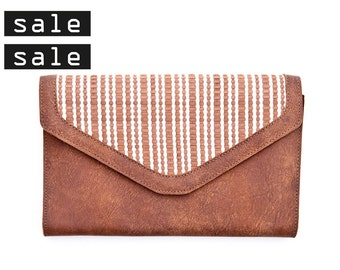 HAPPY BIRTHDAY SALE 20% off !!! Brown leather wallet, envelop clutch, woman wallet, large womens wallet, leather purse, clutch.