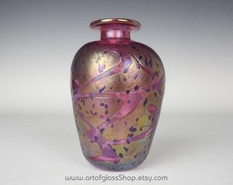 Mtarfa iridescent pink & blue glass vase