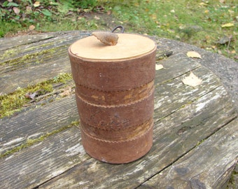 Vintage Birch bark covered Coffee Jar with Lid from Sweden / Hand Maid Home Decor from 1960s / Kitchen interior decor / storage container