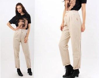 Vintage Pants / Beige Pants / Cotton Pants / High Waist Pants / Womens Trousers Size S