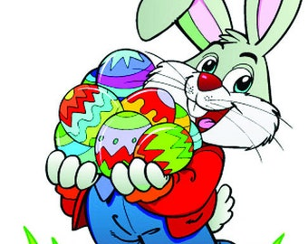 Easter Bunny with Eggs Cross Stitch Pattern 14 ct. Aida