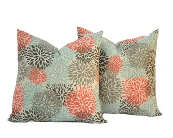 "Two Blooms pillow cover, Coral Pillow, Blue Pillow, Grey Pillow, Floral Pillow, 14"", 16"", 18"" 20"", decorative pillow, throw pillow"