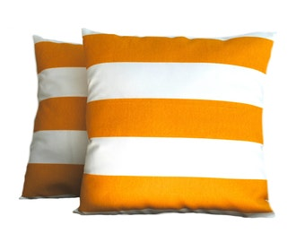 A pair of Premier Prints Indoor/Outdoor Yellow striped Pillow Covers, cushion, decorative pillow, throw pillow