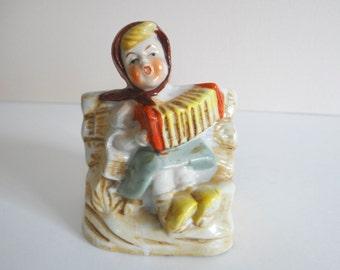 Planter Girl Figurine Accordion Concertina Vintage Japan
