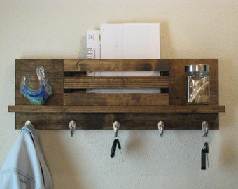 Wall Organizer Mail and Key Holder Rustic Coat Rack