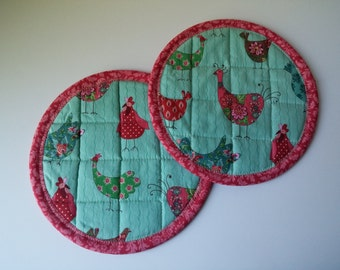 Hot Pad Set of Two,  Quilted Hot Pads, Fabric Hot Pads, Quirky Bird Theme Hot Pads, Aqua Hot Pads, Quilted Pot Holders