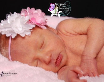 Mini Light Pink White Satin Tulle Flower Skinny Headband - Baby Girl Toddler - SB-038