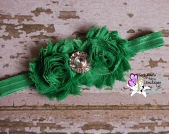 Emerald Green Shabby Flower Rhinestone Headband - Baby Toddler Girl - SB-008F