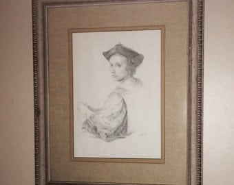Scholar Still Life Pencil Matted by artist Arelrod