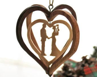 Bride And Groom Wood Ornament - Wedding Ornament - Wedding Christmas Ornment - Keepsake Ornament - First Christmas Ornament - Ornament