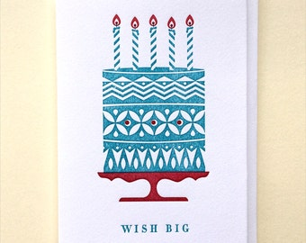 Letterpress Birthday Card : Blue Wish Big Single Card