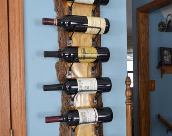 ON SALE 8-bottle - Natural wood with live edge wine rack