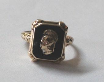 Vintage Cameo Ring Onyx Roman Greek Warrior Soldier Ring 10k yellow gold - sku 1908b2