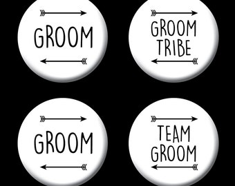 Team Groom / Stag  / Wedding / Team Groom / Groom Tribe Badge (A Set)