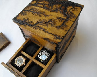 Men's watch box, rustic wooden watchbox, watch storage, husband gift, father's day gift