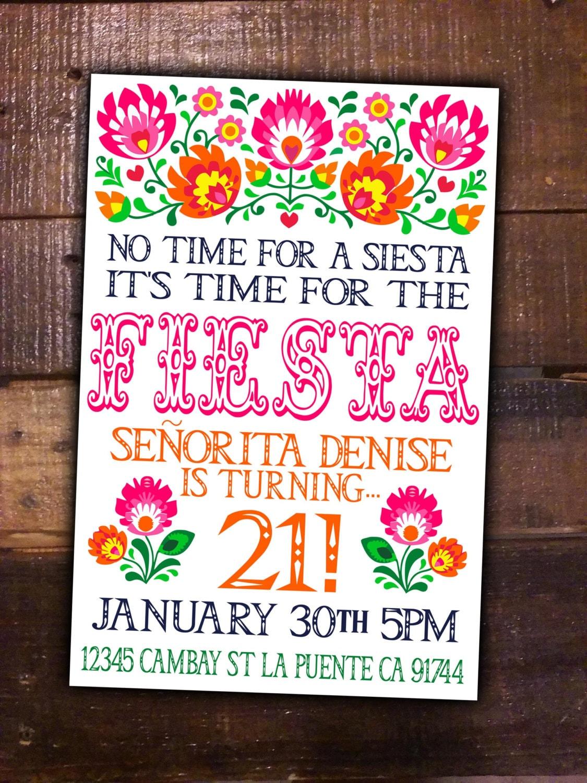 Fiesta Party DIY Printable Invite Birthday Mexican Girl Theme