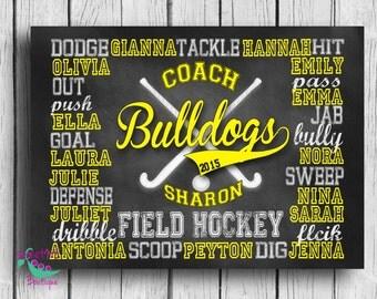Customized FIELD HOCKEY coach gift, personalized field hockey gift, team gift, coach gift, digital image, chalkboard art