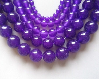 Full Strand 15inches Purple Chalcedony Round Beads - A524