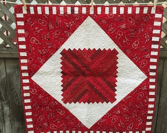 Red and White Western Baby Quilt