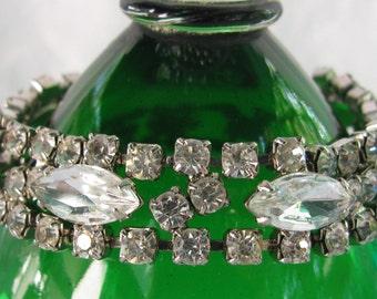 "Sensational Marquise Rhinestone 7 & 3/8"" Silver Bracelet, Bright and Eye Catching"