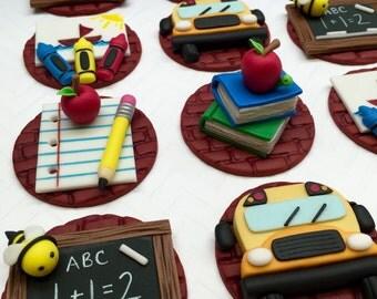 Fondant School Theme Cupcake Toppers, Fondant Apple, Fondant Pencil, Chalkboard, Crayons, School Bus, Books, Bumble Bee, Teacher, Edible