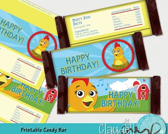 Chica Chick Inspired Printable Candy Bar Wrappers - 300 DPI (Hershey Big)