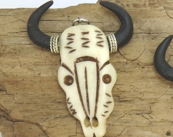 Bull Skull Pendant, Carved Bone Pendants, Native Bone Pendant, Carved Bone Focal, Item 728p