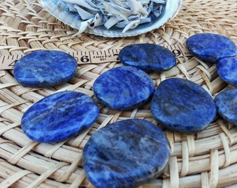 Med Sodalite Palm Stone, Chakra Stone, Worry Stone, Fidget Stone ~ 1 Reiki infused polished flat crystal approx 1.75in