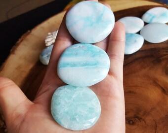 Large Blue Aragonite Palm Stone, Chakra Stone, Worry Stone, Fidget Stone ~ 1 Reiki infused polished flat crystal, approx 1.75-2 inches
