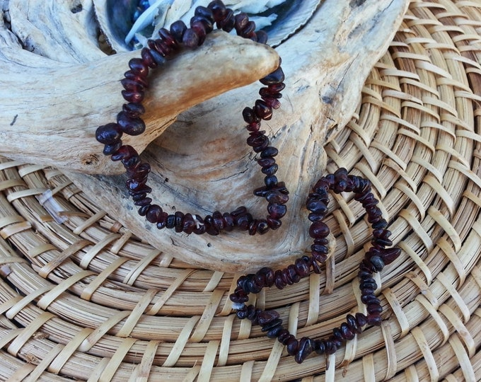Garnet stretchy bracelet ~ 1 Reiki infused gemstone bracelet approx 7 inches