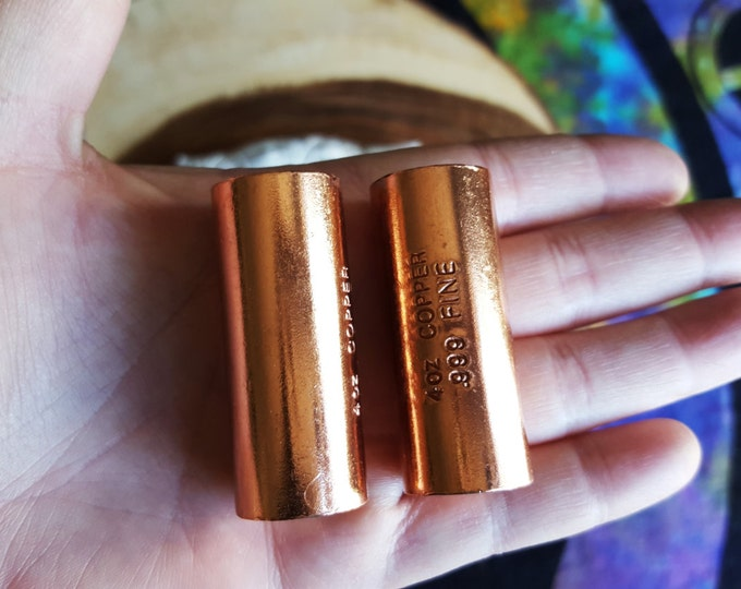 Copper cylinder harmonizer set ~ Set of 2 Reiki infused approximately 2 inch copper cylinders