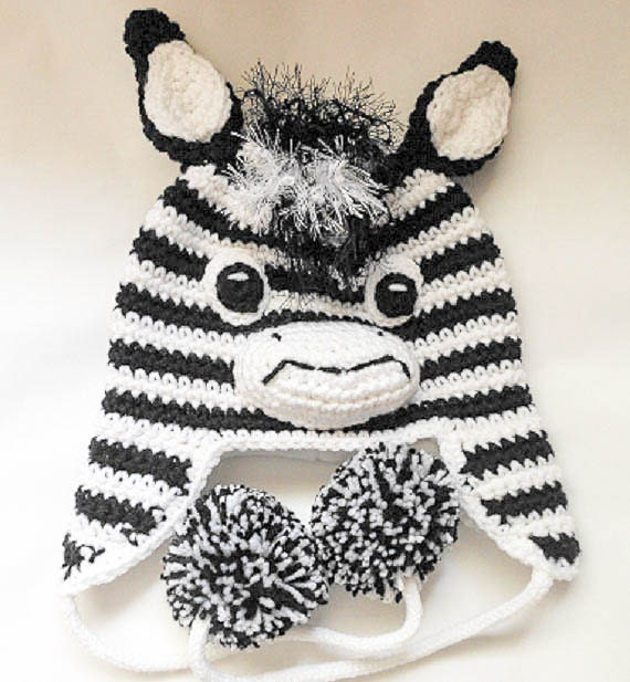 Crochet Pattern Zebra Hat Animal Hat Character Hat Horse