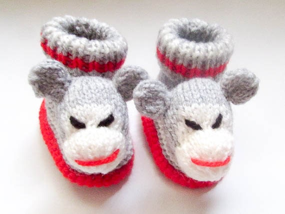 Knitting Pattern For Sock Monkey Mittens : Knitting Pattern Sock Monkey Baby Booties and Mittens Baby Booties Bootees So...