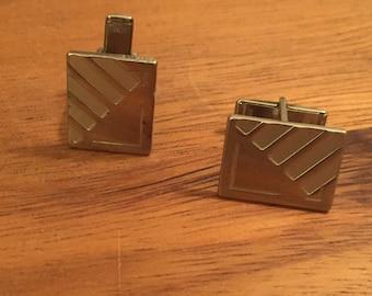 Vintage cufflinks / 1950s 1960s mad men cufflinks / geometric silver toned