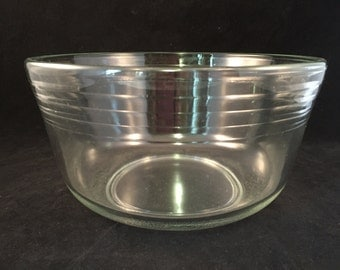 Large Clear Glass Bowl with Rib Design, Vintage Glass Mixing Bowl, Ribbed Mixing Bowl, Vintage 1960's