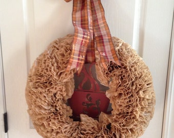 Coffee Anyone - Tan Coffee Filter Wreath