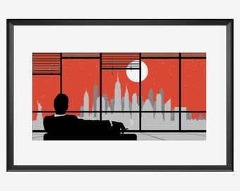 New York Skyline print, New York poster, New York art, New York print, Mad men Inspired, Mad men art, Mad men print, Mad men poster, NYC art