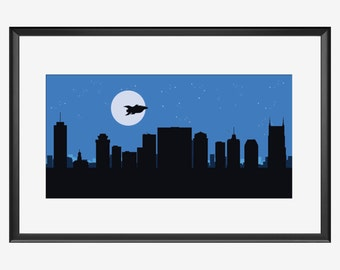 Nashville Skyline print, The Rocket, Nashville print, Nashville poster, Rocket print, Rocket nursery, Spaceship print, Spaceship nursery