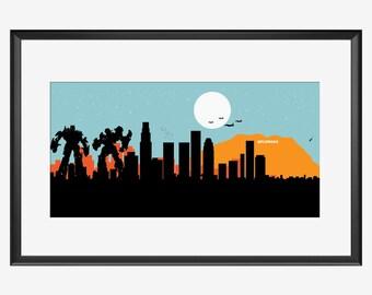Los Angeles skyline print, Los Angeles art, Los Angeles print, Los Angeles poster, Transformers inspired print, Transformers art, print, pop