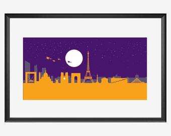 Paris skyline print, Paris art, Paris poster, Paris print, Paris Illustration, Witches print, Witches art, Witches poster, Witches artwork